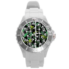 Satisfied And Happy Panda Babies On Bamboo Round Plastic Sport Watch (l) by EDDArt
