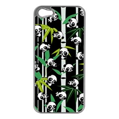 Satisfied And Happy Panda Babies On Bamboo Apple Iphone 5 Case (silver) by EDDArt