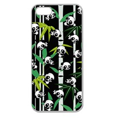 Satisfied And Happy Panda Babies On Bamboo Apple Seamless Iphone 5 Case (clear) by EDDArt