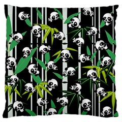 Satisfied And Happy Panda Babies On Bamboo Standard Flano Cushion Case (two Sides) by EDDArt