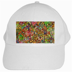 Multicolored Retro Spots Polka Dots Pattern White Cap by EDDArt