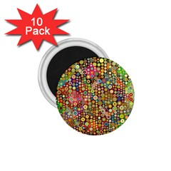 Multicolored Retro Spots Polka Dots Pattern 1 75  Magnets (10 Pack)  by EDDArt