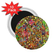 Multicolored Retro Spots Polka Dots Pattern 2 25  Magnets (10 Pack)  by EDDArt