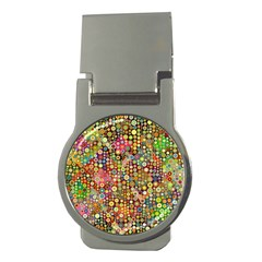 Multicolored Retro Spots Polka Dots Pattern Money Clips (round)  by EDDArt