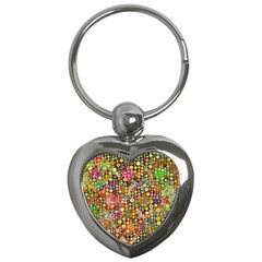Multicolored Retro Spots Polka Dots Pattern Key Chains (heart)  by EDDArt