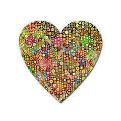 Multicolored Retro Spots Polka Dots Pattern Heart Magnet by EDDArt