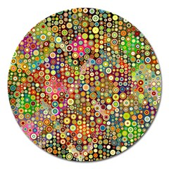 Multicolored Retro Spots Polka Dots Pattern Magnet 5  (round) by EDDArt