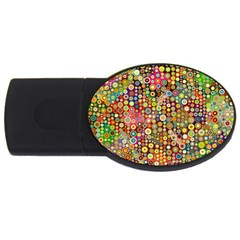 Multicolored Retro Spots Polka Dots Pattern Usb Flash Drive Oval (2 Gb) by EDDArt