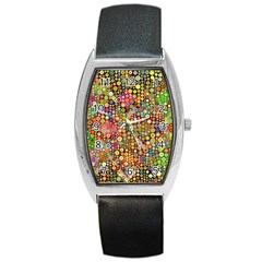 Multicolored Retro Spots Polka Dots Pattern Barrel Style Metal Watch by EDDArt