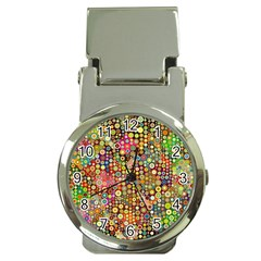 Multicolored Retro Spots Polka Dots Pattern Money Clip Watches by EDDArt
