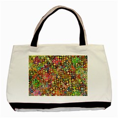 Multicolored Retro Spots Polka Dots Pattern Basic Tote Bag by EDDArt