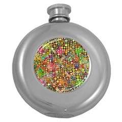 Multicolored Retro Spots Polka Dots Pattern Round Hip Flask (5 Oz) by EDDArt