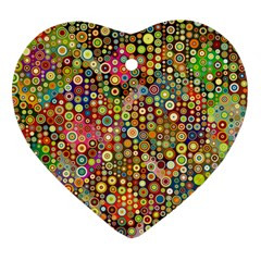 Multicolored Retro Spots Polka Dots Pattern Heart Ornament (two Sides) by EDDArt