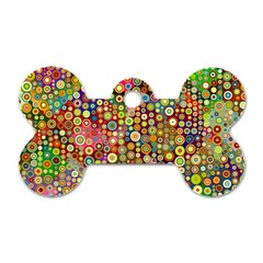Multicolored Retro Spots Polka Dots Pattern Dog Tag Bone (two Sides) by EDDArt