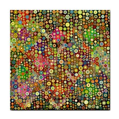 Multicolored Retro Spots Polka Dots Pattern Face Towel by EDDArt