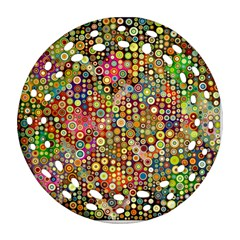 Multicolored Retro Spots Polka Dots Pattern Round Filigree Ornament (two Sides) by EDDArt