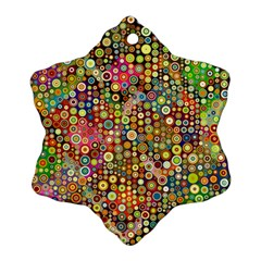 Multicolored Retro Spots Polka Dots Pattern Snowflake Ornament (two Sides) by EDDArt