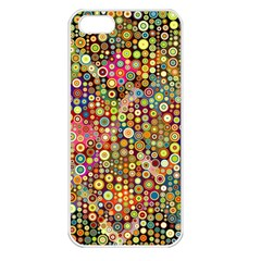 Multicolored Retro Spots Polka Dots Pattern Apple Iphone 5 Seamless Case (white) by EDDArt
