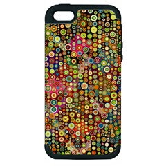 Multicolored Retro Spots Polka Dots Pattern Apple Iphone 5 Hardshell Case (pc+silicone) by EDDArt