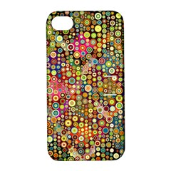 Multicolored Retro Spots Polka Dots Pattern Apple Iphone 4/4s Hardshell Case With Stand by EDDArt