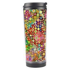 Multicolored Retro Spots Polka Dots Pattern Travel Tumbler by EDDArt