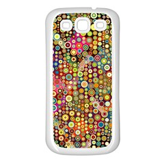 Multicolored Retro Spots Polka Dots Pattern Samsung Galaxy S3 Back Case (white) by EDDArt