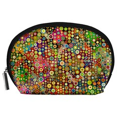 Multicolored Retro Spots Polka Dots Pattern Accessory Pouches (large)  by EDDArt
