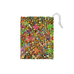 Multicolored Retro Spots Polka Dots Pattern Drawstring Pouches (small)  by EDDArt
