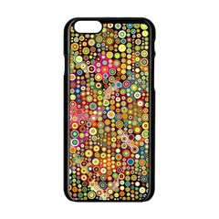 Multicolored Retro Spots Polka Dots Pattern Apple Iphone 6/6s Black Enamel Case by EDDArt