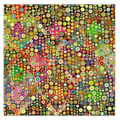 Multicolored Retro Spots Polka Dots Pattern Large Satin Scarf (square) by EDDArt