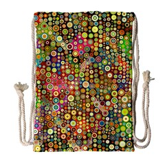 Multicolored Retro Spots Polka Dots Pattern Drawstring Bag (large) by EDDArt