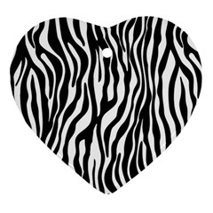 Zebra Stripes Pattern Traditional Colors Black White Ornament (heart) by EDDArt