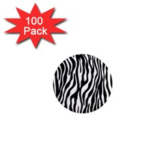 Zebra Stripes Pattern Traditional Colors Black White 1  Mini Magnets (100 Pack)  by EDDArt