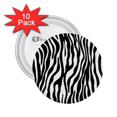 Zebra Stripes Pattern Traditional Colors Black White 2 25  Buttons (10 Pack)  by EDDArt