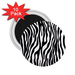 Zebra Stripes Pattern Traditional Colors Black White 2 25  Magnets (10 Pack)  by EDDArt