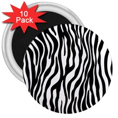 Zebra Stripes Pattern Traditional Colors Black White 3  Magnets (10 Pack)
