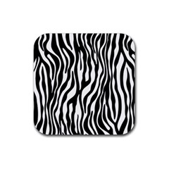 Zebra Stripes Pattern Traditional Colors Black White Rubber Coaster (square)  by EDDArt