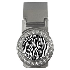Zebra Stripes Pattern Traditional Colors Black White Money Clips (cz)  by EDDArt