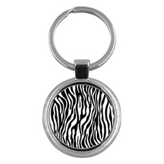 Zebra Stripes Pattern Traditional Colors Black White Key Chains (round)  by EDDArt