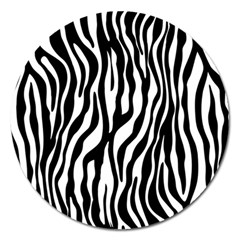 Zebra Stripes Pattern Traditional Colors Black White Magnet 5  (round) by EDDArt