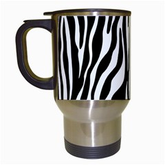 Zebra Stripes Pattern Traditional Colors Black White Travel Mugs (white) by EDDArt