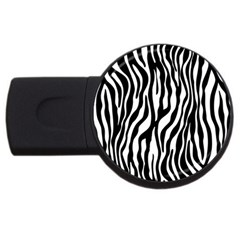 Zebra Stripes Pattern Traditional Colors Black White Usb Flash Drive Round (4 Gb) by EDDArt