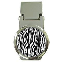 Zebra Stripes Pattern Traditional Colors Black White Money Clip Watches by EDDArt