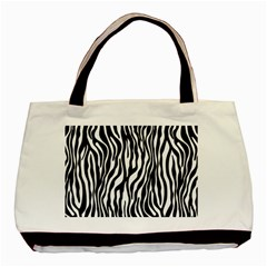 Zebra Stripes Pattern Traditional Colors Black White Basic Tote Bag by EDDArt