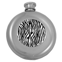 Zebra Stripes Pattern Traditional Colors Black White Round Hip Flask (5 Oz) by EDDArt
