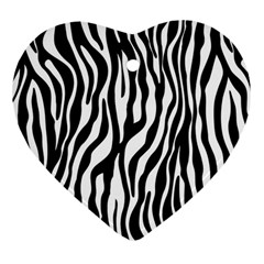 Zebra Stripes Pattern Traditional Colors Black White Heart Ornament (two Sides) by EDDArt