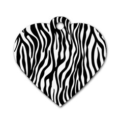 Zebra Stripes Pattern Traditional Colors Black White Dog Tag Heart (two Sides) by EDDArt