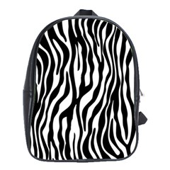 Zebra Stripes Pattern Traditional Colors Black White School Bags(large)  by EDDArt