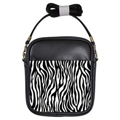 Zebra Stripes Pattern Traditional Colors Black White Girls Sling Bags by EDDArt