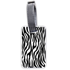 Zebra Stripes Pattern Traditional Colors Black White Luggage Tags (one Side)  by EDDArt